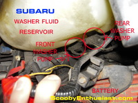 SUBARU windshield washer pumps location, front and rear