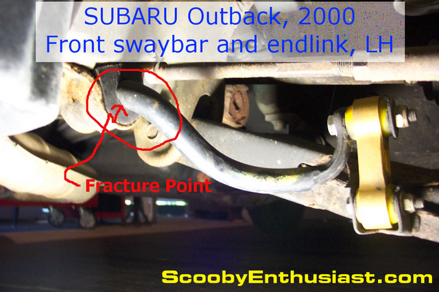 Broken, snapped, fractured front sway bar or stabilizer bar - 2000