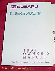 1994 subaru legacy owners manual best setting instruction guide u2022 rh ourk9 co 1993 Subaru Legacy Wagon 1994 subaru legacy owners manual