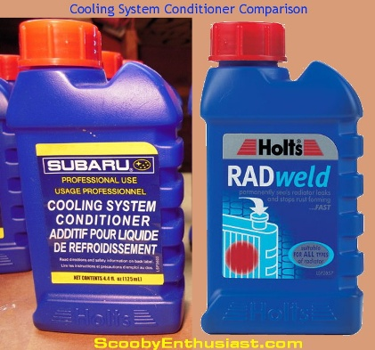 Comparison of SUBARU coolant conditioner to Holts Radweld